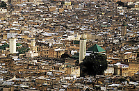 Looking over the rooftops of a medina, Fez, Morocco.