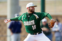 Starting pitcher Tyler Barnette #18 of the Charlotte 49ers in action against the Saint Peters's Peacocks at Robert and Mariam Hayes Stadium on February 18, 2012 in Charlotte, North Carolina.  Brian Westerholt / Four Seam Images
