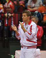 13-sept.-2013,Netherlands, Groningen,  Martini Plaza, Tennis, DavisCup Netherlands-Austria, Second rubber, Captain Clemens Trimmel (AUT) <br /> Photo: Henk Koster