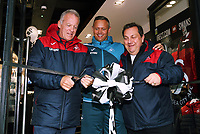 (L-R) Alan Curtis, Lee Trundle, Kevin Johns during the cutting of the ribbon at the Swansea City FC shop opening in Union Street, Swansea, Wales, UK. Saturday 07 October 2017