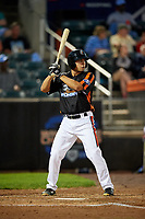 Aberdeen IronBirds center fielder Nick Horvath (44) at bat during a game against the Staten Island Yankees on August 23, 2018 at Leidos Field at Ripken Stadium in Aberdeen, Maryland.  Aberdeen defeated Staten Island 6-2.  (Mike Janes/Four Seam Images)