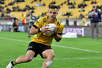 Wes Goosen of the Hurricanes scores a try  during the Super Rugby - Hurricanes v Rebels at Sky Stadium, Wellington, New Zealand on Friday 21 May 2021.<br /> Photo by Masanori Udagawa. <br /> www.photowellington.photoshelter.com