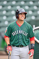 Michael Chavis (11) of the Greenville Drive in a team workout on Wednesday, April 6, 2016, at Fluor Field at the West End in Greenville, South Carolina. (Tom Priddy/Four Seam Images)