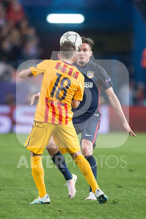 Atletico de Madrid's Saul Ñiguez and FC Barcelona Jordi Alba during Champions League 2015/2016 Quarter-Finals 2nd leg match. April 13, 2016. (ALTERPHOTOS/BorjaB.Hojas)