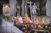 Pope Benedict XVI celebrates the Pentecost Sunday mass on May 31, 2009 at St Peter's Basilica at the Vatican.