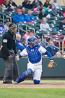 Francisco Pena (26) of the Memphis Redbirds on defense against the Omaha Storm Chasers in Pacific Coast League action at Werner Park on April 24, 2015 in Papillion, Nebraska.  (Stephen Smith/Four Seam Images)
