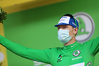 15th September 2020; Lyon, France; Tour De France 2020, La Tour-du-Pin to Villard-de-Lans, stage 16; Sam Bennett Ireland Deceuninck - Quick - Step celebrates on the podium