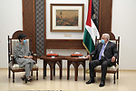 Palestinian President Mahmoud Abbas, meets with the Foreign Minister of Spain, in the West Bank city of Ramallah, on December 10, 2020. Photo by Thaer Ganaim
