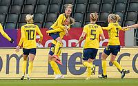 SOLNA, SWEDEN - APRIL 10: Sweden celebrates their goal during a game between Sweden and USWNT at Friends Arena on April 10, 2021 in Solna, Sweden.