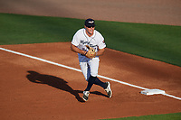Lakeland Flying Tigers first baseman Blaise Salter (21) during a game against the Tampa Tarpons on April 6, 2018 at Publix Field at Joker Marchant Stadium in Lakeland, Florida.  Lakeland defeated Tampa 6-5.  (Mike Janes/Four Seam Images)