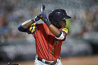 Daz Cameron (10) of the Toledo Mud Hens at bat against the Charlotte Knights at BB&T BallPark on April 23, 2019 in Charlotte, North Carolina. The Knights defeated the Mud Hens 11-9 in 10 innings. (Brian Westerholt/Four Seam Images)