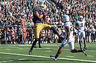 Oct 11, 2014; Irish wide receiver William Fuller (7) catches a pass for a touchdown as North Carolina Tar Heels cornerback Brain Walker (28) defends in the first quarter. (Photo by Matt Cashore)