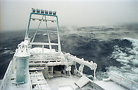 "Ice fog accompanies the fishing vessel ""Kiska Sea"" as it fishes for opilio crab in the Bering Sea in January and February of 1995.  The Bering Sea is known for having the worst storms in the world. Ice fog is formed when the air is colder than the water. The boat is covered in ice from sea spray coming over the sides.  Crab fishing in the Bering Sea is considered to be one of the most dangerous jobs in the world.  This fishery is managed by the Alaska Department of Fish and Game and is a sustainable fishery.  The Discovery Channel produced a TV series called ""The Deadliest Catch"" which popularized this fishery. Today this fishery, largely based out of Dutch Harbor, AK has been consolidated resulting in a lot less boats fishing."