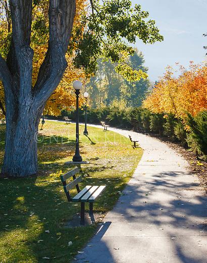 Sidewalk along the Clark Fork River through downtown Missoula, Montana