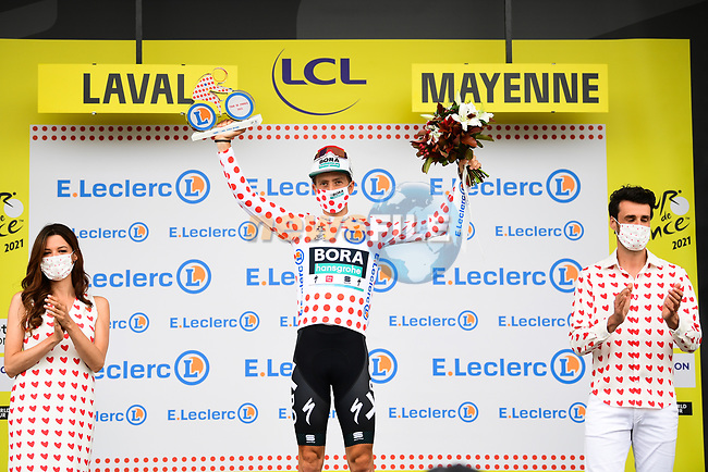 Ide Schelling (NED) Bora-Hansgrohe retains the mountains Polka Dot Jersey at the end of Stage 5 of the 2021 Tour de France, an individual time trial running 27.2km from Change to Laval, France. 30th June 2021.  <br /> Picture: A.S.O./Pauline Ballet | Cyclefile<br /> <br /> All photos usage must carry mandatory copyright credit (© Cyclefile | A.S.O./Pauline Ballet)