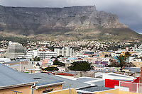 South Africa, Cape Town.  View of Cape Town and Table Mountain from the upper region of Bo-kaap.