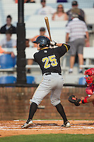 Logan Ratledge (25) of the Bristol Pirates at bat against the Johnson City Cardinals at Howard Johnson Field at Cardinal Park on July 6, 2015 in Johnson City, Tennessee.  The Pirates defeated the Cardinals 2-0 in game one of a double-header. (Brian Westerholt/Four Seam Images)