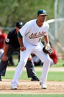 Oakland Athletics minor league infielder Matt Olson #16 during an instructional league game against the Arizona Diamondbacks at the Papago Park Baseball Complex on October 11, 2012 in Phoenix, Arizona. (Mike Janes/Four Seam Images)