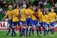 MELBOURNE, AUSTRALIA - JANUARY 09: United players celebrate Bruce Djite's goal during the round 23 A-League match between the Melbourne Heart and Gold Coast United at AAMI Park on January 19, 2011 in Melbourne, Australia. (Photo by Sydney Low / Asterisk Images)