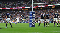 Owen Farrell of England takes a conversion kick in front of the posts during the RBS 6 Nations match between England and Scotland at Twickenham Stadium on Saturday 11th March 2017 (Photo by Rob Munro/Stewart Communications)