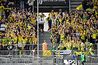 19th September  2021; Angers, Pays de la Loire, France; French League 1 football Angers versus Nantes;   Supporters of Angers  show their colours