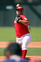 September 1 2008:  Pitcher Adam Veres of the Batavia Muckdogs, Class-A affiliate of the St. Louis Cardinals, during a game at Dwyer Stadium in Batavia, NY.  Photo by:  Mike Janes/Four Seam Images