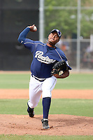 Jeury Castillo #25 of the San Diego Padres plays in minor league spring training game against the Seattle Mariners at the Padres minor league complex on March 19, 2011  in Peoria, Arizona. .Photo by:  Bill Mitchell/Four Seam Images.