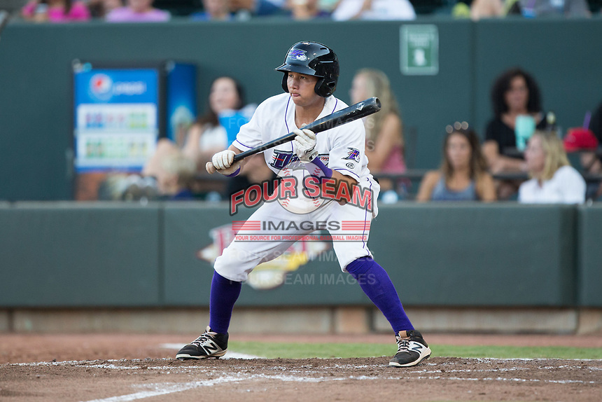 Bryant Flete (30) of the Winston-Salem Dash squares to bunt against the Potomac Nationals at BB&T Ballpark on August 5, 2017 in Winston-Salem, North Carolina.  The Dash defeated the Nationals 6-0.  (Brian Westerholt/Four Seam Images)