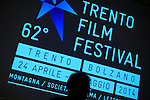 30/04/2014 Trento, Italia. 62nd Trento Film Festival<br /> Italian alpinist Simone Moro is seen during a conference about his experience to save human lives with his helicopter in Himalaya.