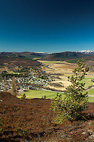 Braemar from Creag Coinnich with the River Dee and the Cairngorms in the distance, Aberdeenshire, Scotland
