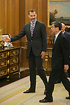 King Felipe VI of Spain receives receives President of the Asian Development Bank, Takehiko Nakao, during an official meeting at Zarzuela Palace in Madrid, Spain. July 03, 2015. (ALTERPHOTOS/Victor Blanco)