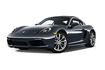 Stock pictures of low aggressive front three quarter view of 2017 Porsche 718 Cayman 3 Door Coupe Low Aggressive