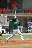 Down East Wood Ducks infielder Luis La O (36) at bat during a game against the Carolina Mudcats  on April 27, 2017 at Five County Stadium in Zebulon, North Carolina. Carolina defeated Down East 9-7. (Robert Gurganus/Four Seam Images)