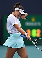 MIAMI GARDENS, FL - APRIL 03: Bianca Andreescu is seen crying prior to retiring in her match with Ashleigh Barty during the Women's finals at the 2021Miami Open at Hard Rock Stadium, Ashleigh Barty defeats Bianca Andreescu 6-3, 4-0 ret on April 3, 2021 in Miami Gardens, Florida. Credit: mpi04/MediaPunch