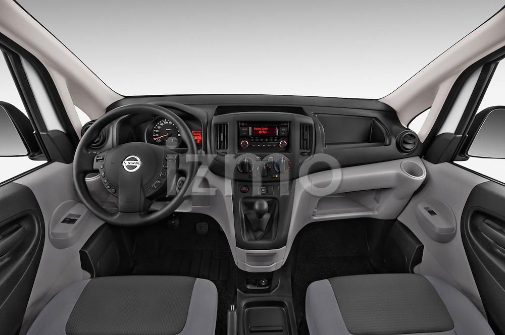 Stock photo of straight dashboard view of a 2015 Nissan NV200 Visia 5 Door Cargo Van