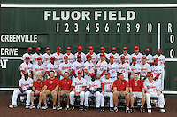Members of the Greenville Drive pose for a team photo during the team's media day on April 4, 2012, at Fluor Field at the West End in Greenville, South Carolina. (Tom Priddy/Four Seam Images)