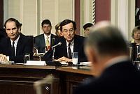 Quebec (QC) CANADA - March 1991 file photo - ,Commission Belanger-Campeau - Robert Bourassa