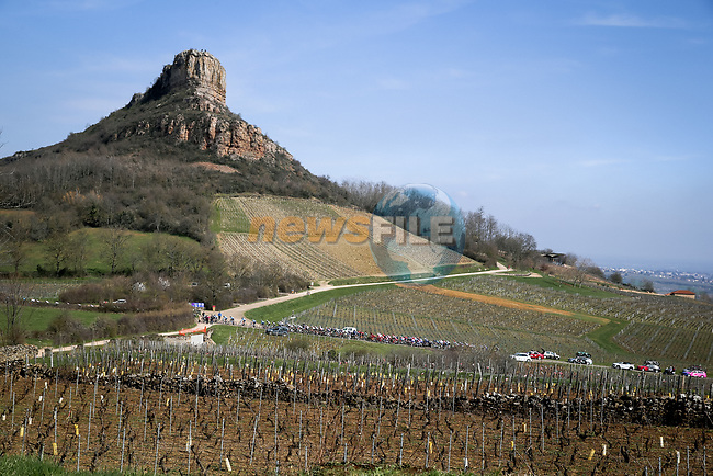 The peloton during Stage 4 of Paris-Nice 2021, running 187.5km from Chalon-sur-Saone to Chiroubles, France. 10th March 2021.<br /> Picture: ASO/Fabien Boukla | Cyclefile<br /> <br /> All photos usage must carry mandatory copyright credit (© Cyclefile | ASO/Fabien Boukla)