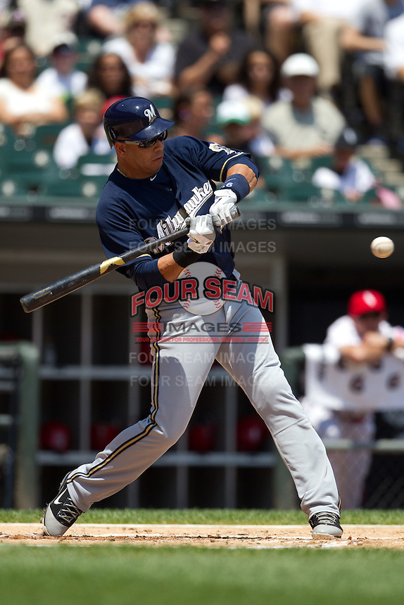 Milwaukee Brewers third baseman Aramis Ramirez #16 swings during the Major League Baseball game against the Chicago White Sox on June 24, 2012 at US Cellular Field in Chicago, Illinois. The White Sox defeated the Brewers 1-0 in 10 innings. (Andrew Woolley/Four Seam Images).