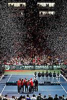 French and Serbian Davis Cup teams during closing ceremony of Davis Cup finals, Serbia vs France in Belgrade Arena in Belgrade, Serbia, Sunday, 5. December 2010. (Srdjan Stevanovic/Starsportphoto ©)