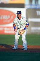 Hartford Yard Goats shortstop Zach Osborne (5) during the second game of a doubleheader against the Trenton Thunder on June 1, 2016 at Sen. Thomas J. Dodd Memorial Stadium in Norwich, Connecticut.  Trenton defeated Hartford 2-1.  (Mike Janes/Four Seam Images)
