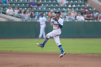 Ogden Raptors second baseman Kenneth Betancourt (9) throws to first base during a Pioneer League game against the Great Falls Voyagers at Lindquist Field on August 23, 2018 in Ogden, Utah. The Ogden Raptors defeated the Great Falls Voyagers by a score of 8-7. (Zachary Lucy/Four Seam Images)