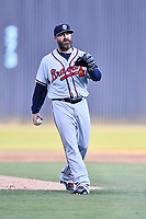 Rome Braves pitcher Jason Motte (49) during a Major League Rehabilitation against the Asheville Tourists at McCormick Field on July 29, 2017 in Asheville, North Carolina. The Braves defeated the Tourists 7-3. (Tony Farlow/Four Seam Images)