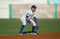 Burlington Royals shortstop Jeison Guzman (13) on defense against the Danville Braves at Burlington Athletic Stadium on August 12, 2017 in Burlington, North Carolina.  The Braves defeated the Royals 5-3.  (Brian Westerholt/Four Seam Images)