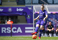 Britt Vanhamel (4) of Anderlecht pictured during a female soccer game between RSC Anderlecht Dames and Standard Femina De Liege on the third matchday of play off 1 of the 2020 - 2021 season of Belgian Womens Super League , saturday 24 th of April 2021  in Brussels , Belgium . PHOTO SPORTPIX.BE | SPP | DAVID CATRY