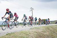 """GC contenders Hugh Carthy (GBR/EF Education - Nippo), Maglia Rosa / Pink Jersey Egan Bernal (COL/Ineos Grenadiers) & Emanuel Buchmann (DEU/BORA - hansgrohe) over the final gravel sector of the day.<br /> <br /> 104th Giro d'Italia 2021 (2.UWT)<br /> Stage 11 from Perugia to Montalcino (162km)<br /> """"the Strade Bianche stage""""<br /> <br /> ©kramon"""