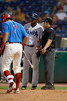 Tampa Tarpons manager Aaron Holbert (13) argues a call with umpire Jhonatan Biarreta during a Florida State League game against the Clearwater Threshers on April 18, 2019 at Spectrum Field in Clearwater, Florida.  Clearwater defeated Tampa 10-3.  (Mike Janes/Four Seam Images)