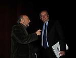 GIANNI BORGNA CON WALTER VELTRONI<br /> MANIFESTAZIONE PER I 10 ANNI DELL'AUDITORIUR PARCO DELLA MUSICA ROMA 2013