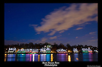 20x30 or 24x36 inch poster of the lights of Boat House Row reflecting in the Schuylkill River in Philadelphia.