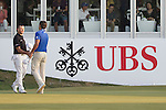 Sam Brazel of Australia (in black) shakes hands with Rafael Cabrera Bello of Spain (in blue) at the end of their game during the 58th UBS Hong Kong Golf Open as part of the European Tour on 10 December 2016, at the Hong Kong Golf Club, Fanling, Hong Kong, China. Photo by Vivek Prakash / Power Sport Images